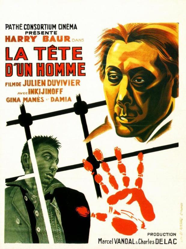 Affiche du film La tête d'un homme, de Julien Duvivier