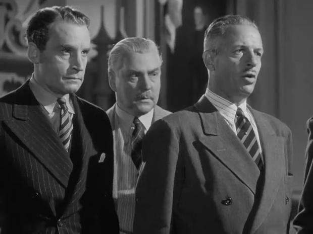 Henry Daniell, Nigel Bruce et Reginald Denny dans le film Sherlock Holmes et la voix de la terreur