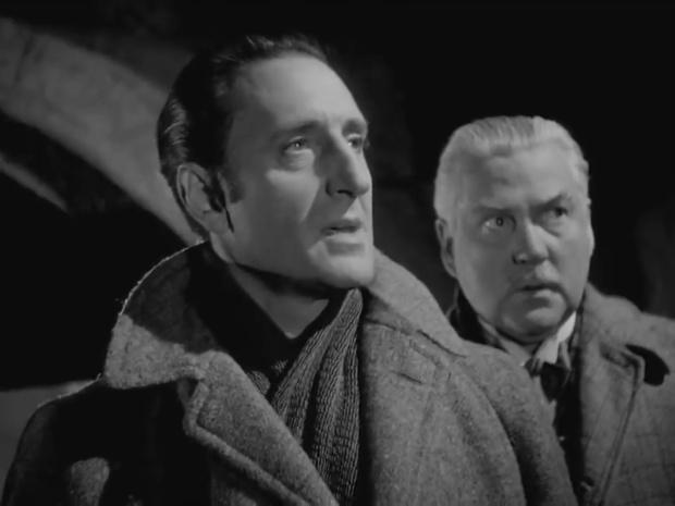 Basil Rathbone et Nigel Bruce dans The house of fear (La maison de la peur, 1945) de Roy William Neill