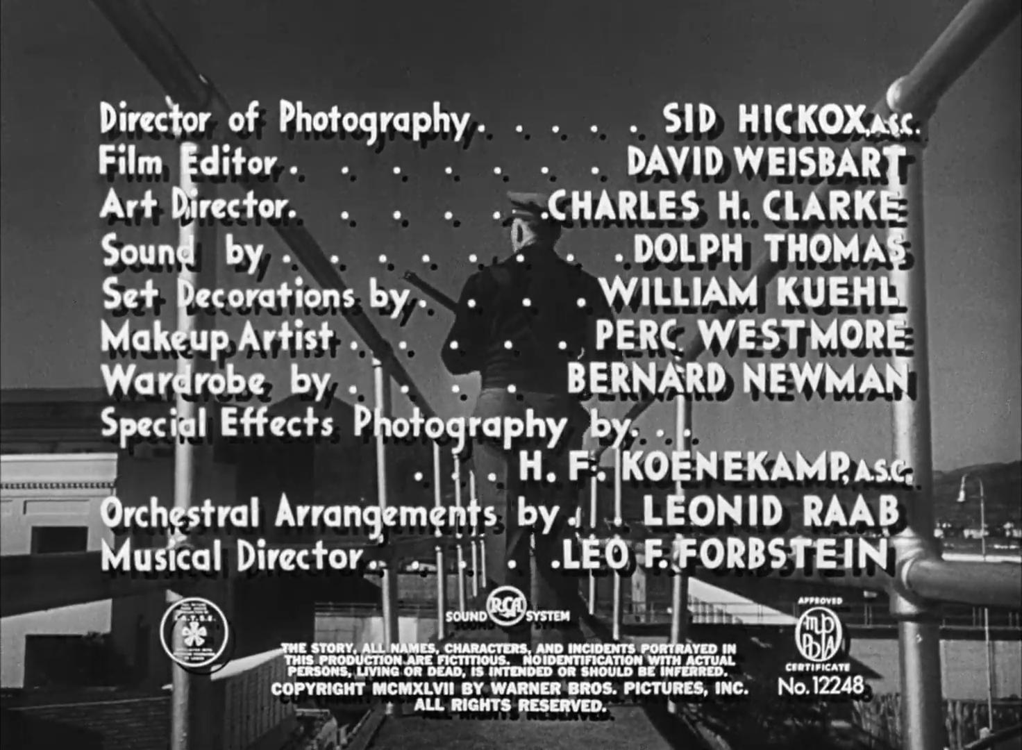 Générique du film policier Dark passage (Les passagers de la nuit, 1947) de Delmer Daves