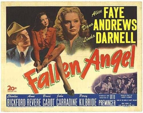 Affiche du film noir Fallen angel (Crime passionnel, 1945) d'Otto Preminger