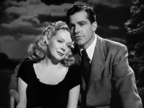 Alice Faye et Dana Andrews dans le film noir Fallen angel (Crime passionnel, 1945) d'Otto Preminger