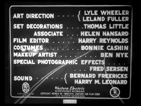 Générique du film noir Fallen angel (Crime passionnel, 1945) d'Otto Preminger