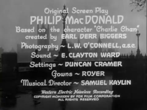 Générique du film Charlie Chan in London (1934) d'Eugene Forde