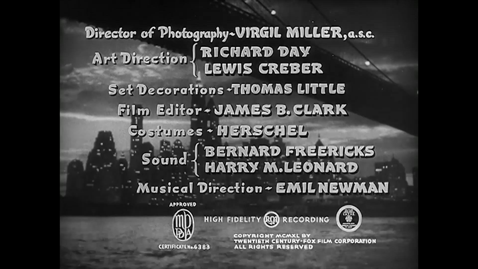 Générique du film Charlie Chan at the Wax museum (1940) de Lynn Shores
